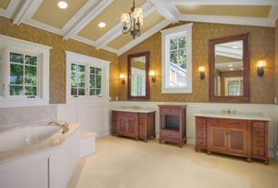 Traditional Master Bathroom with Exposed beam, Glass panel door, Concrete tile , Simple Marble, Simple marble counters