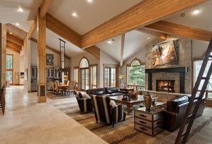 Contemporary Great Room with Transom window, Exposed beam, Concrete tile , stone fireplace, High ceiling, French doors