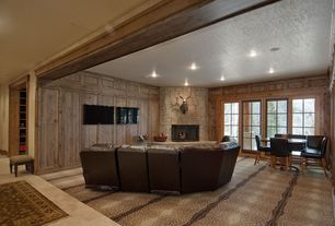 Eclectic Home Theater with French doors, can lights, picture window, Built-in bookshelf, Fireplace, Standard height