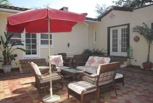 Traditional Patio with French doors, exterior tile floors, exterior terracotta tile floors