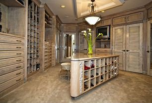 Eclectic Closet with flush light, Crown molding, Ceiling fan, French doors, Louvered door, Carpet, Built-in bookshelf