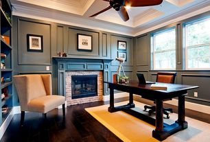 Contemporary Home Office with Ceiling fan, Box ceiling, Laminate floors, Built-in bookshelf, Crown molding, High ceiling