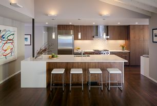 Modern Kitchen with Pendant light, Subway tile backsplash, Paint, Hardwood floors, Wood cabinets, Breakfast bar