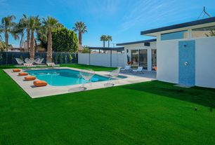 Modern Swimming Pool with Fence, Pool with hot tub, Artificial turf grass