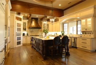 Traditional Kitchen with Undermount sink, Mohawk hardwood : greyson distressed, Pendant light, Tray ceiling, Inset cabinets