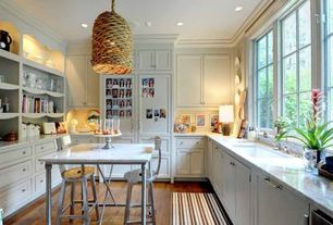 Traditional Kitchen with Built-in bookshelf, Pendant light, Breakfast bar, Complex marble counters, U-shaped, Kitchen island
