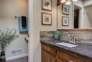 Contemporary Full Bathroom with Shower, Standard height, full backsplash, stone tile floors, Flat panel cabinets, Full Bath