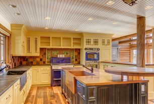 Cottage Kitchen with Ceramic Tile, L-shaped, Glass panel, Kitchen island, flush light, Complex marble counters, Flush