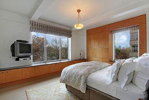 Contemporary Guest Bedroom with Hardwood floors, Exposed beam, Pendant light, Casement, Standard height
