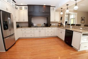 Traditional Kitchen with dishwasher, U-shaped, Standard height, can lights, Hardwood floors, partial backsplash, Custom hood