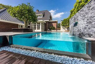 Contemporary Swimming Pool with French doors, double-hung window, Other Pool Type, Fence