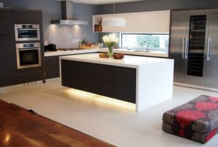 Contemporary Kitchen with Flush, L-shaped, European Cabinets, Back painted glass backsplash, Undermount sink, Kitchen island