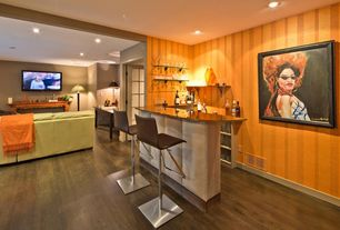 Modern Bar with Built-in bookshelf, Hardwood floors