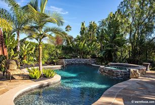 Tropical Swimming Pool with Fence, Raised beds, exterior stone floors, Pool with hot tub
