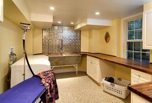 "Contemporary Laundry Room with Williamsburg Butcher Block Co.  1-1/2""x 25"" x 8' American Walnut Countertop, Farmhouse sink"