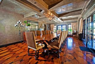Eclectic Dining Room with Chandelier, Exposed beam, High ceiling, French doors, Hardwood floors, picture window, Box ceiling