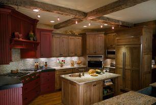 Country Kitchen with Custom hood, Exposed beam, Undermount sink, full backsplash, flush light, can lights, Flush, wall oven