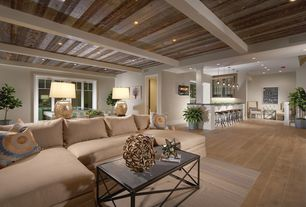 """Contemporary Basement with Exposed beam, Rion furniture brussels coffee table, Hardwood floors, White oak - common #1 / 4"""""""