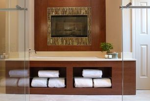 Contemporary Master Bathroom with Vinyl floors, specialty door, Master bathroom