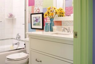 Contemporary Kids Bathroom with Quartz countertop, shower bath combo, Standard height, Corian counters, Kids bathroom, Shower