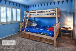 Traditional Kids Bedroom with Crown molding, Mural, Carpet
