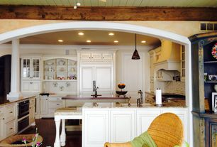 Cottage Kitchen with Wood counters, Undermount sink, Pendant light, Kitchen island, Standard height, specialty door, Paint 2