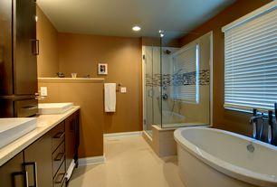 Modern Master Bathroom with Rain shower, Vinyl floors, Freestanding, frameless showerdoor, Vessel sink, European Cabinets