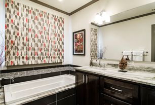 Contemporary Master Bathroom with Flat panel cabinets, Nova tile and stone contempo matchstick mosaic samoa blend