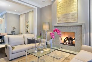 Contemporary Living Room with Cb2 - smart glass top coffee table, Capel - zoe-cane wicker 55648 area rug, Paint, Fireplace
