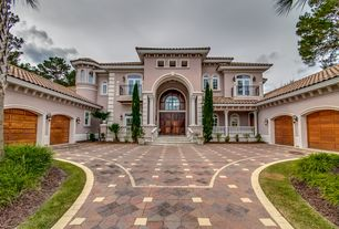 Mediterranean Exterior of Home with Pathway, exterior tile floors