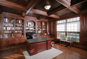 Traditional Home Office with Chair rail, Crown molding, Standard height, flush light, Box ceiling, can lights
