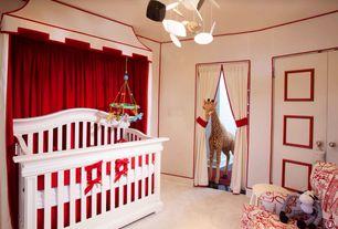 Eclectic Kids Bedroom with Chandelier, Carpet, Pier 1 Plush Curtain - Red, Melissa & Doug Plush Giraffe