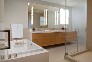 Contemporary Master Bathroom with Master bathroom, Corian counters, European Cabinets, Elf48 bath bar, frameless showerdoor