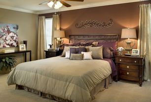 Traditional Master Bedroom with Carpet, Crown molding, Ceiling fan