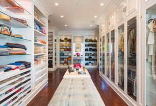 Traditional Closet with Standard height, can lights, Hardwood floors, Built-in bookshelf, Crown molding