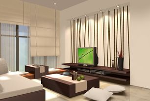 Contemporary Living Room with sandstone tile floors, Window seat, can lights, Standard height, stone tile floors