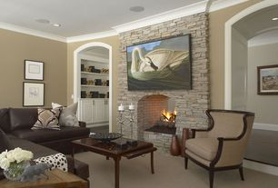 Traditional Living Room with Carpet, Crown molding, brick fireplace, Fireplace, can lights, Standard height