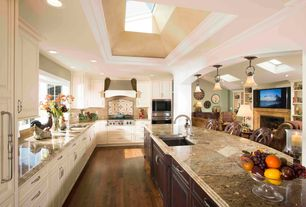 Traditional Kitchen with Large Ceramic Tile, Marble countertops, Custom hood, Pendant light, Hardwood flooring, Bay window