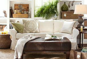 Cottage Living Room with Built-in bookshelf, Carpet