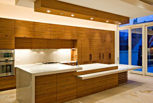 Contemporary Kitchen with European Cabinets, Undermount sink, onyx tile floors, Complex Marble, French doors, Flush, One-wall
