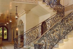 Mediterranean Staircase with Concrete floors, High ceiling