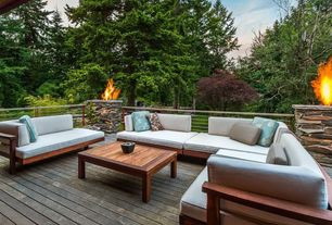 Contemporary Deck with Outdoor seating, Fire pit