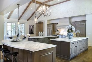 Traditional Kitchen with Raised panel, Brick, Complex marble counters, Chandelier, Inset cabinets, Hardwood floors, One-wall