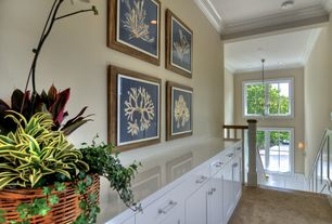 Traditional Hallway with Coral framed prints, Fireworks ii - color explosion 12 ft. carpet, Crown molding, Carpet