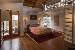 Contemporary Guest Bedroom with French doors, Wall sconce, Loft, Hardwood floors, Ceiling fan, High ceiling