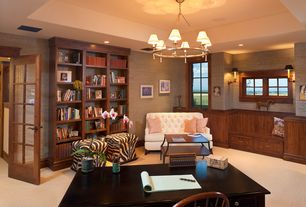 Traditional Home Office with Window seat, Built-in bookshelf, Carpet, interior wallpaper, Wainscotting, Wall sconce