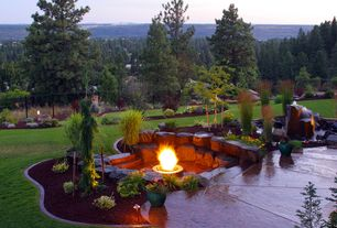Landscape/Yard with Fountain, Earthworks Boulders, exterior tile floors, Pathway, exterior terracotta tile floors, Fence