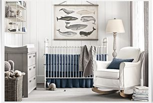 Cottage Kids Bedroom with Standard height, Restoration hardware tatum wide dresser, Carpet, no bedroom feature