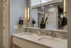 Traditional Master Bathroom with Wall sconce, Ceramic Tile, specialty door, frameless showerdoor, Undermount sink