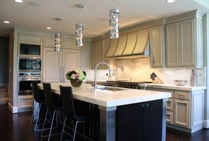 Traditional Kitchen with Complex marble counters, Kitchen island, Pendant light, Carrara white marble, L-shaped, Custom hood